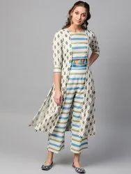 La Firangi Women Off- White & Blue Printed Kurta With Palazzos