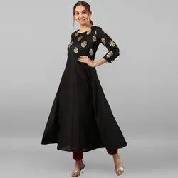 Janasya Women''s Black Poly Silk Kurta (JNE2266)