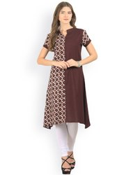 La Firangi Women Brown Printed Asymmetric A-Line Kurta