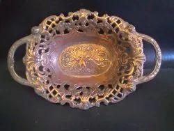 KCE Gum Metal Fruit Tray, Shape: Oval, Size: 2'' Height, 430 Gram