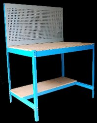 Mild Steel White, Sky Blue Work Bench With Pegboard, For Industrial, Size: 1500 Mm Length