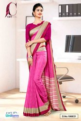 Pink Wine Plain Border Premium Polycotton CotFeel Saree For Factory Uniform Sarees