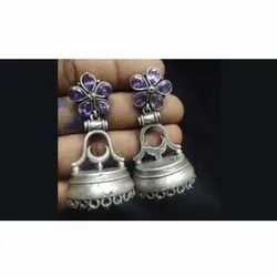 Antique Silver Finish Stone Earrings
