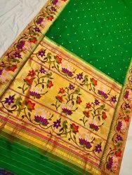 Yevola Swan Border Hand weaved Exclusive Paithani Silk Saree