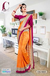 Orange Wine Plain Border Premium Polycotton CotFeel Saree For Industrial Uniform Sarees
