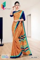 Brown Blue Premium Italian Silk Crepe Saree For Factory Uniform Sarees