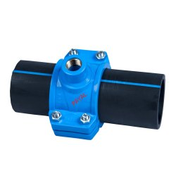 PP SERVICE SADDLE BLUE CP COATING BRASS THREADED