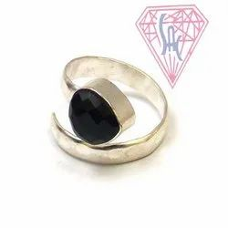Black Onyx Gemstone Ring with sliver plated