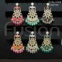 Meenakari Kundan Chandbali Earrings