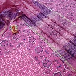 Exclusive Natural Bagru Hand Block Printed Cotton Dress Material With Kota Doria Dupatta.