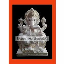 White And Golden Ganesh Marble Statue
