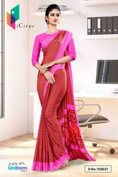 Brown Pink Small Print Premium Italian Silk Crepe Saree For Front Office Uniform Sarees