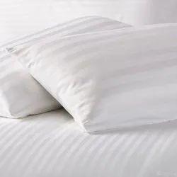 Hotel White Satin Patta & Patti Bedsheet Fabric In India 350 T.C