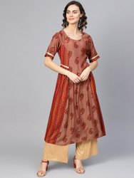 La Firangi Women Rust Red & Orange Silk Printed A-Line Kurta