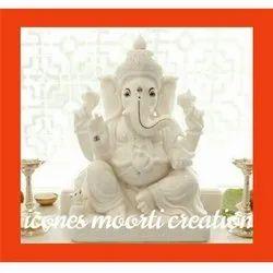 White Ganesh Marble Statue