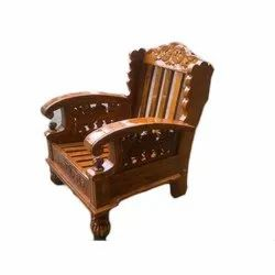 Antique Brown Teak Wood Sofa Chair, For Home
