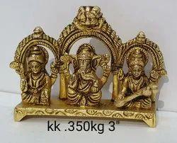 Brown Pan India Brass LGS TEMPLE FRAME (Laxmi Ganesh Sarasvatee ), Size: Kk.350 Kg 3''