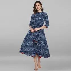 Janasya Women's Blue Pure Cotton Ethnic Dress (J0093)