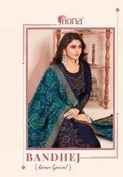 Fiona Bandhej Satin Georgette With Swarovski Work Salwar Kameez Catalog