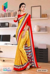 Yellow Red Premium Italian Silk Crepe Saree For Receptionist Uniform Sarees