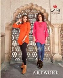 Regular 3/4th Sleeve Reyon Flex with Embroidery Work Kurti, Wash Care: Dry clean