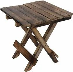 Wooden Handicarft Folding Stool for Living Room Side Table 12Inch.(Brown)