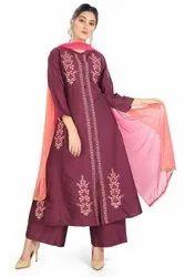Cotton Culture Party Wear Ladies Designer Purple Suit