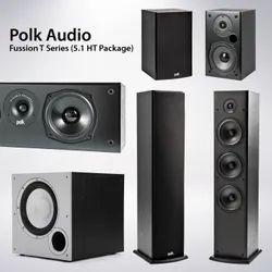 Black Wooden Polk Fusion T Series 5.1 Speaker Package