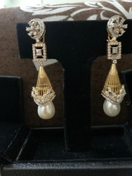 Reeva Impex Bridal Wear Real Diamond Earrings For Women 18kt Gold Jewelry, 21.8gm Approx