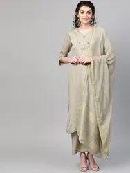 La Firangi Women Grey & Golden Self- Checked Chanderi Kurta With Palazzos & Dupatta