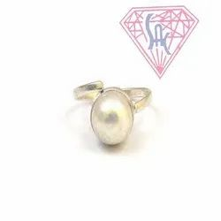 Pearl Gemstone Ring with Silver Plated