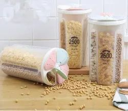 MECHDEL 2.5L Plastic Kitchen Food Cereal Grain Bean Rice Storage Tank (4 Section)