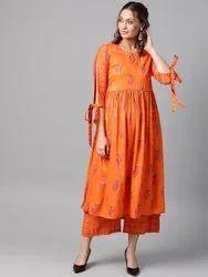 La Firangi Women Orange & Purple Printed Kurta With Palazzos