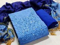 Blue Ladies Casual Silk Suit Material