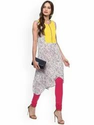 La Firangi Women Cream-Coloured & Yellow Floral Print A-Line Kurta