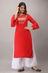 Karwa Chauth Special Red Rayon Gota Work Kurta