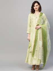 La Firangi Women Green & Silver Pure Silk Printed Kurta with Sharara & Dupatta