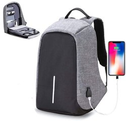Polyester Black, Grey Anti Theft Laptop Backpack, Number Of Compartments: 2, Bag Capacity: 5 Kg