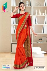 Orange Red Paisley Print Premium Italian Silk Crepe Uniform Sarees For Jewellery Showroom