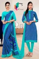 Blue Sea Green Premium Italian Silk Crepe Saree For Institution Uniform Sarees