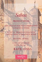NAARITI PRESENT SABAA MUSLIN SILK WITH EMBROIDERY WORK EXCLUSIVE HEAVY SUITS SELLER