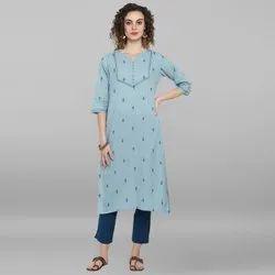 Janasya Women''s Sky Blue Weaved Cotton Kurta(J0053)