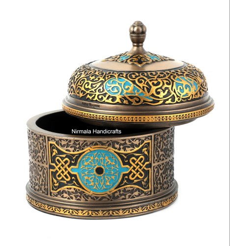 Copper Finish Round Box Gold Antique Finishing Decorative Showpiece