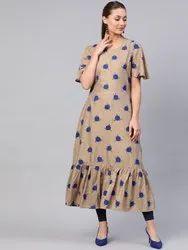 La Firangi Women Beige & Blue Printed A-Line Kurta