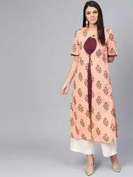 La Firangi Women Peach-coloured & Burgundy Floral Printed Layered Straight Kurta