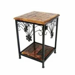 Wooden Iron Stool Bedside Sitting Table Standard Size Brown Black for Home