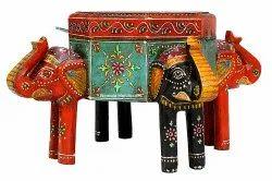 Multicolor Nirmala Handicrafts Wooden Elephant Box Enamel Work Showpiece