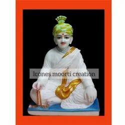 White Swaminarayn Marble Statue