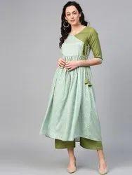 La FirangI Women Green & Blue Printed Kurta with Palazzos