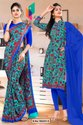 Sea Green Blue Flower Print Premium Italian Silk Crepe Uniform Sarees for Receptionist